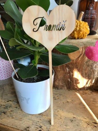 Dřevěné srdce do kytice Promiň