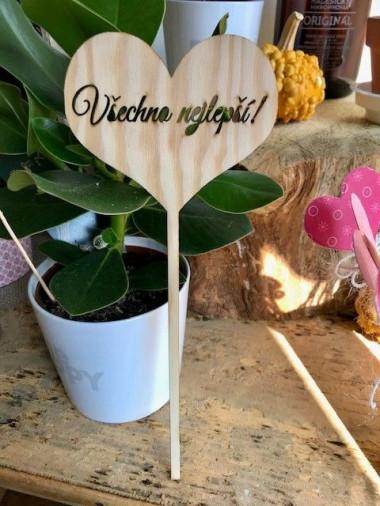 Dřevěné srdce do kytice Všechno nejlepší