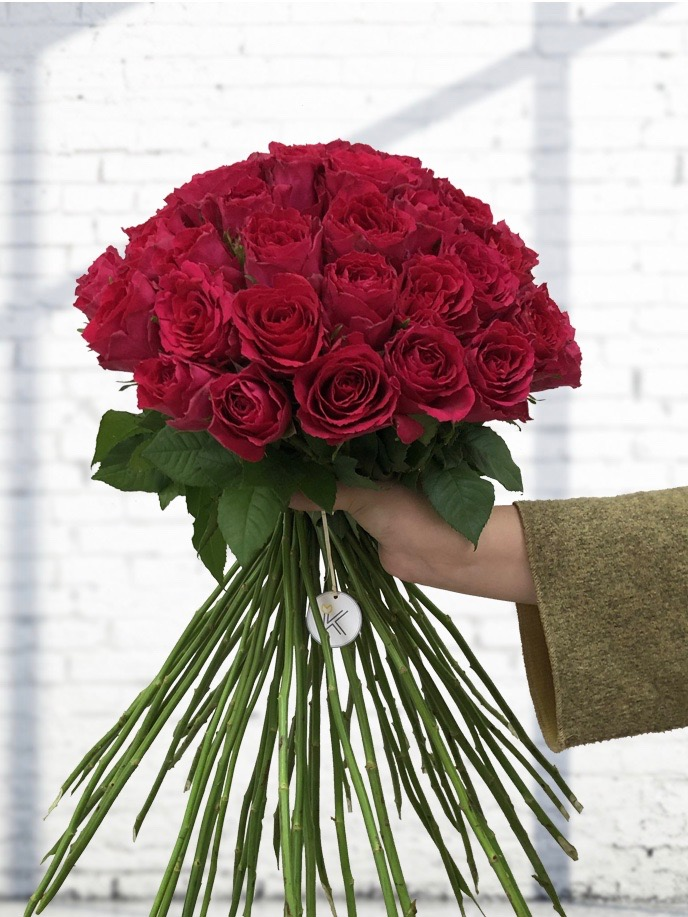 Kytice růží Deluxe Pink 70cm