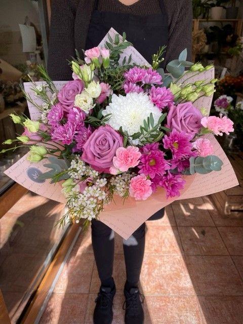 Kytice z růžových květin online