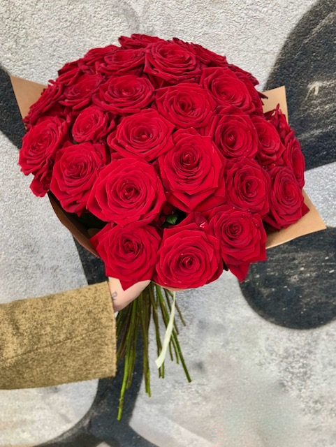 Kytice prémiových červených růží 80 cm